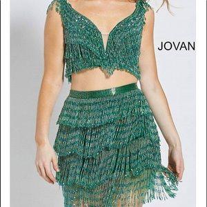 Jovani green plunge 2 piece beaded dress size 00